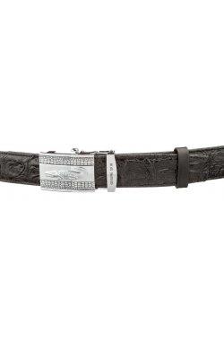 Ремень автоматический CROCODILE LEATHER 18605 из натуральной кожи крокодила Чер