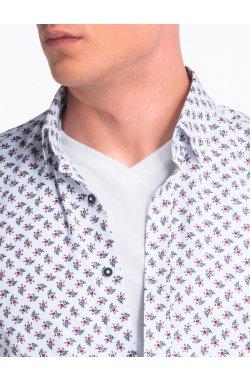 Рубашка мужская с короткими рукавами K473 - Белый/красный