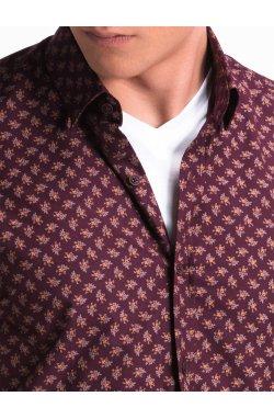 Рубашка мужская с короткими рукавами K473 - Темно- красный/коричневый