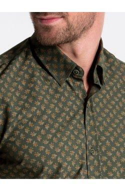Рубашка мужская с короткими рукавами K473 - зеленый/коричневый