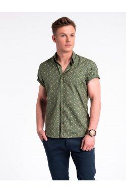 Рубашка мужская с короткими рукавами K473 - зеленый/бежевый