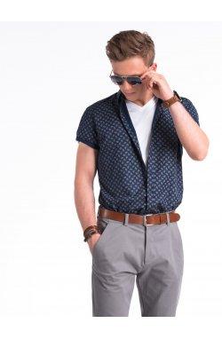 Рубашка мужская с короткими рукавами K473 - Синий/коричневый