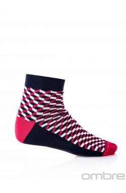 Patterned men's socks U08 - Синий/красный