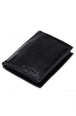 Men's leather wallet A085 - черный