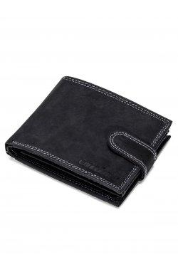 Men's leather wallet A087 - черный