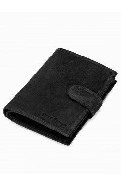 Men's leather wallet A091 - черный