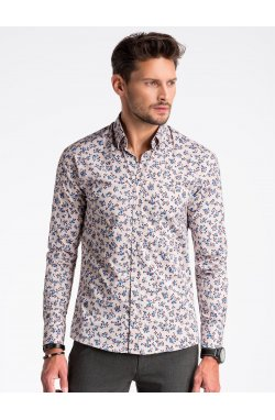 Рубашка мужская R501 - бежевый/красный