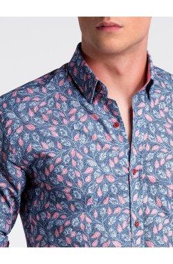 Рубашка мужская R500 - Синий/розовый