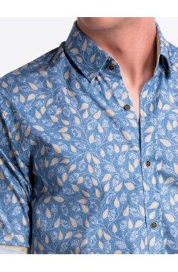 Рубашка мужская R500 - голубой/бежевый