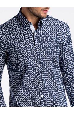 Рубашка мужская R499 - Синий/Белый