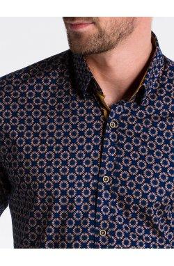 Рубашка мужская R499 - Синий/коричневый