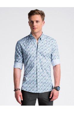 Рубашка мужская R491 - Белый/зеленый
