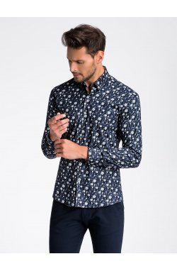 Рубашка мужская R491 - Синий/Белый