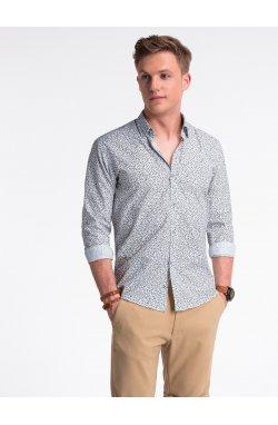 Рубашка мужская R475 - Белый/коричневый