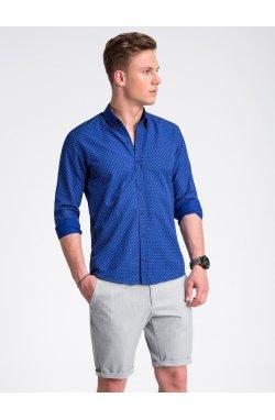 Рубашка мужская с короткими рукавами K477 - Синий/Белый
