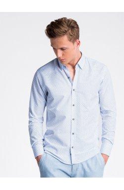 Рубашка мужская с короткими рукавами K477 - Белый/голубой