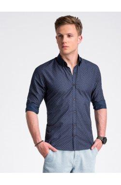 Рубашка мужская с короткими рукавами K477 - Синий/коричневый