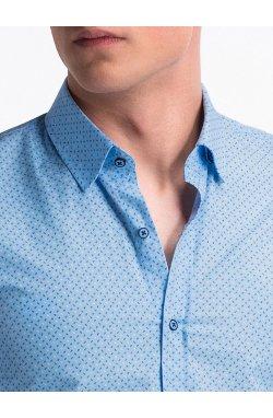 Рубашка мужская с короткими рукавами K477 - голубой/Синий