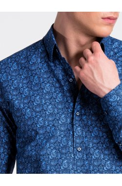 Рубашка мужская R476 - Синий/голубой