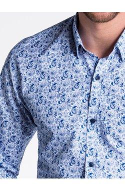 Рубашка мужская R476 - Белый/голубой