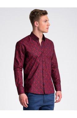 Рубашка мужская R476 - Синий/Темно- красный