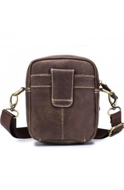 Маленькая кожаная сумка для мужчин T0221 Bull Коричневый