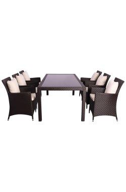 Комплект мебели Samana-6 из ротанга Elit (SC-8849) Brown MB1034 ткань A13815