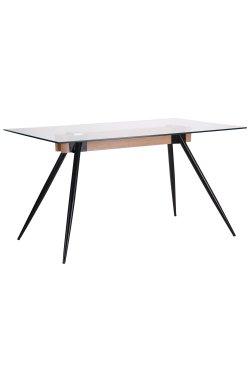 Стол обеденный Корлеоне черный/стекло прозрачное