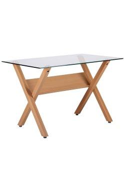 Стол обеденный Maple бук/стекло прозрачное