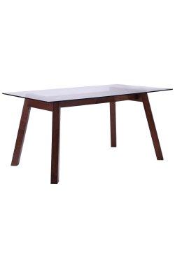 Стол обеденный Брайтон 1500*900*750 орех светлый /cтекло прозрачное