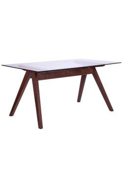 Стол обеденный Эльба 1500*900*750 орех светлый /cтекло прозрачное