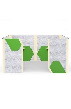 Кабина двойная Cabi фетр серый/фетр зеленый черный графит