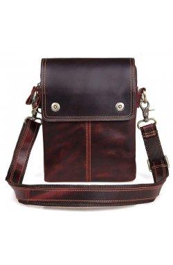 На плечо мужская сумка-планшет John McDee 1006X из коричневой телячьей кожи К