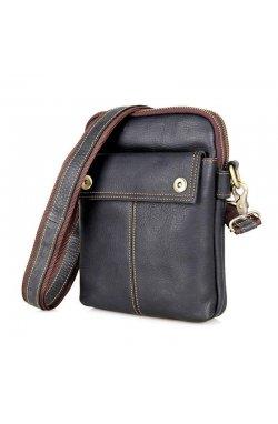 Мужская кожаная сумка через плечо, кросс-боди бренд John McDee Коричневый