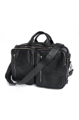 Кожаная сумка трансформер JD 7014A рюкзак, бриф, сумка черная Черный