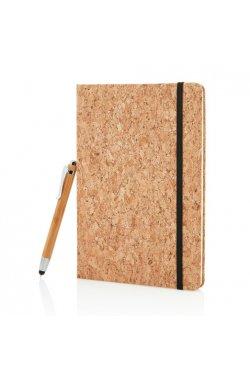 Экоблокнот Cork А5 с ручкой-стилусом - wos1623