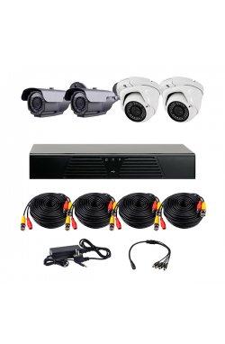 Комплект AHD видеонаблюдения из 2-х уличных и 2-х купольных камер CoVi Security