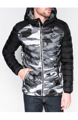 Men's autumn quilted jacket C366 - Серый/камуфляжный