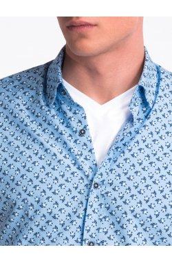 Рубашка мужская с короткими рукавами K473 - голубой/Белый