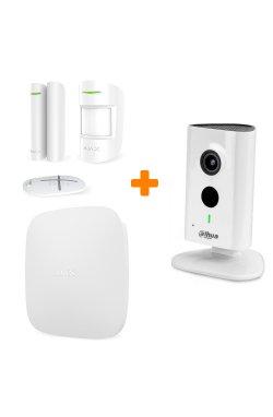 Комплект сигнализации Ajax StarterKit White + 3 МП IP видеокамера Dahua DH-IPC-C35P