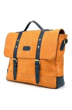 Сумка-портфель из парусины (канвас) и кожи RY-0001-4lx бренд TARWA Оранжевый