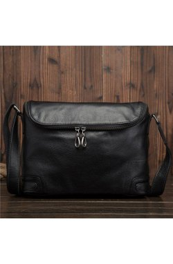 Сумка-мессенджер кожаный на молнии bx8123 от бренда Bexhill Черный