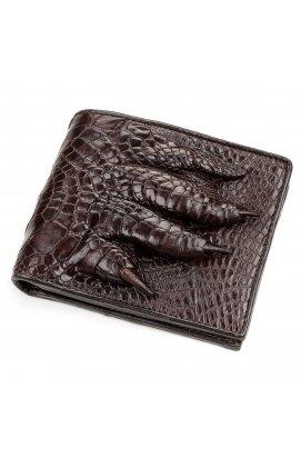 Портмоне CROCODILE LEATHER 18196 из натуральной кожи крокодила Коричневое, Коричневый