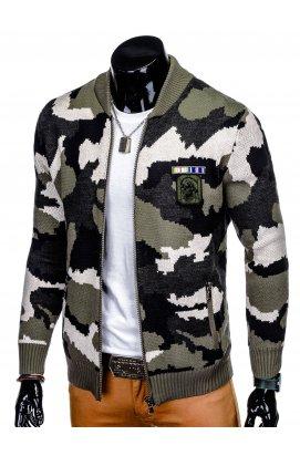 Men's zip-up sweater E125 - хаки/камуфляжный