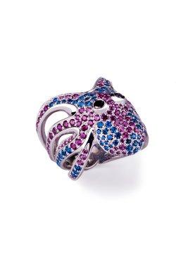 Серебряное кольцо осьминог из родированного серебра 925-й пробы с куб. циркониями корундом шпинелью синтетической (32923 6)