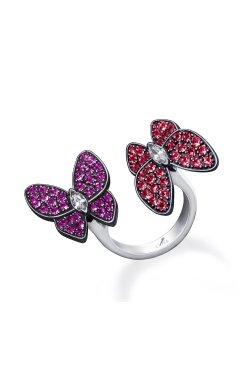 Открытое серебряное кольцо бабочки n.2 из родированного серебра 925-й пробы с куб. циркониями (32923 3)