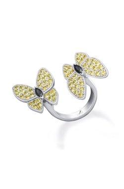 Открытое серебряное кольцо бабочки n.5 из родированного серебра 925-й пробы с куб. циркониями (32923 4)