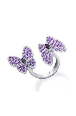 Открытое серебряное кольцо бабочки n.7 из родированного серебра 925-й пробы с куб. циркониями (32923 5)