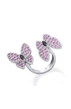 Открытое серебряное кольцо бабочки n.9 из родированного серебра 925-й пробы с куб. циркониями (32923 7)