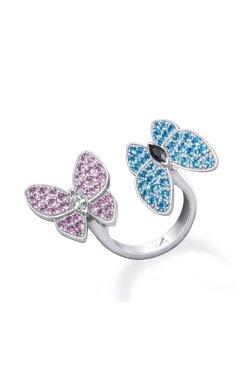 Открытое серебряное кольцо бабочки n.10 из родированного серебра 925-й пробы с куб. циркониями (32923 6)